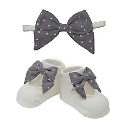 So' Dorable Grey Bow White Dot Headband and Bootie Set