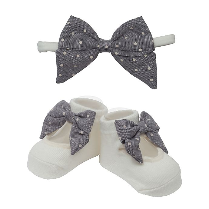 Alternate image 1 for So' Dorable Grey Bow White Dot Headband and Bootie Set