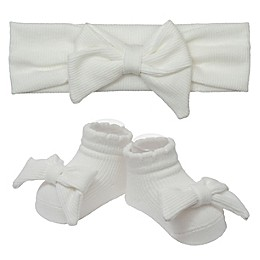 So 'dorable Ivory Bow Ribbed Headband and Bootie Set