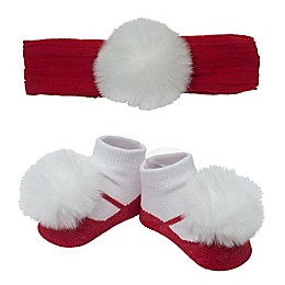 So 'dorable Red Lace White Pom Headband and Bootie Set