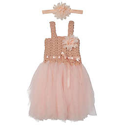 Elly & Emmy Newborn 2-Piece Fancy Tutu and Headband Set in Dusty Rose
