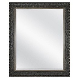 Floral 27.5-Inch x 33.5-Inch Rectangular Decorative Wall Mirror in Black