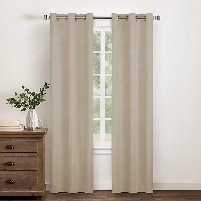 Alternate image 1 for Wamsutta® Collective Asher Cotton Chambray Grommet Blackout Window Curtain Panel (Single)