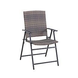 Barrington Wicker Folding Patio Chair in Natural Brown