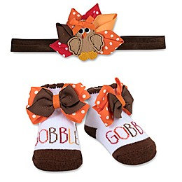 Baby Essentials Size 0-6M 2-Piece Turkey Gobble Headband and Sock Set
