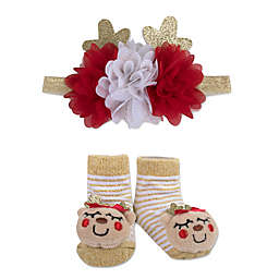 Baby Essentials Size 0-6M 2-Piece Reindeer Headband and Sock Set