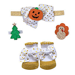 Baby Essentials Size 0-6M 2-Piece Holiday Gold Dot Headband and Sock Set