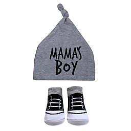 Baby Essentials™ 0-6M 2-Piece Mama's Boy Hat and Bootie Set