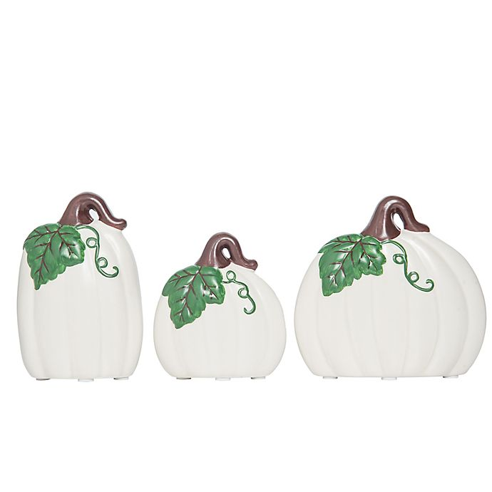 Alternate image 1 for Ceramic Fall Pumpkins in White (Set of 3)