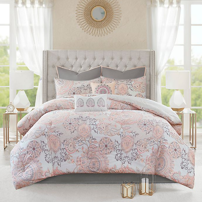 Alternate image 1 for Madison Park Isla 8-Piece Reversible Queen Comforter Set in Blush