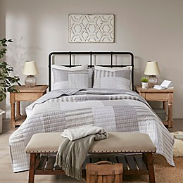 Madison Park Mason 3-Piece Reversible Coverlet Set in Grey