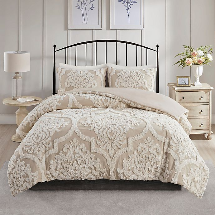 Alternate image 1 for Madison Park Viola 3-Piece Full/Queen Duvet Cover Set in Taupe