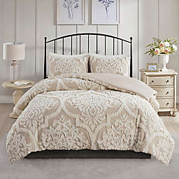 Madison Park Viola 3-Piece Full/Queen Duvet Cover Set in Taupe