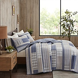 Madison Park Hewitt 3-Piece Reversible Coverlet Set in Blue/Taupe