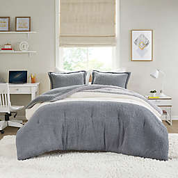 Intelligent Design Arlow 2-Piece Color Block Sherpa Twin/Twin XL Comforter Set in Grey/Ivory