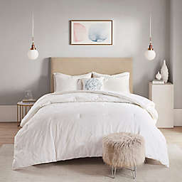 Madison Park Prelude Microsculpt 4-Piece Full/Queen Comforter Set in White