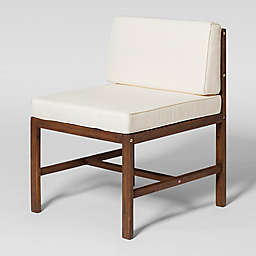 Forest Gate Acacia Wood Patio Armless Chair in Dark Brown with Cream Cushions