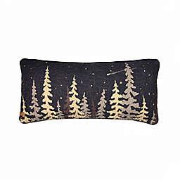 Moonlit Cabin Oblong Throw Pillow in Black