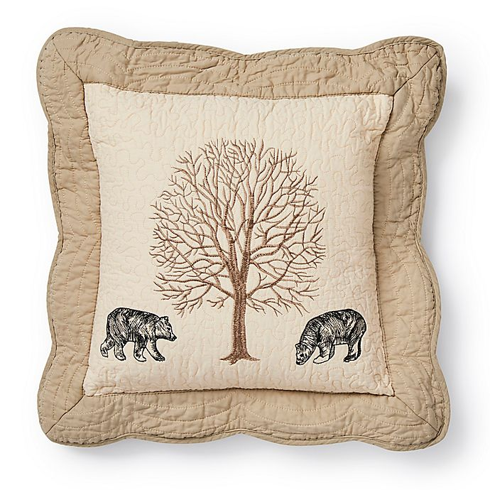 Alternate image 1 for Donna Sharp Bear Creek Bears Square Throw Pillow in Beige