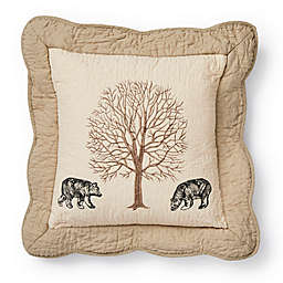 Donna Sharp Bear Creek Bears Square Throw Pillow in Beige