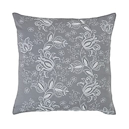 Vista Embroidered Square Throw Pillow in Grey