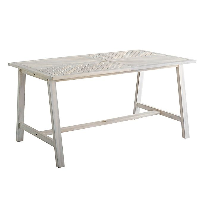 Alternate image 1 for Forest Gate Rectangular Acacia Wood Patio Dining Table in White Wash