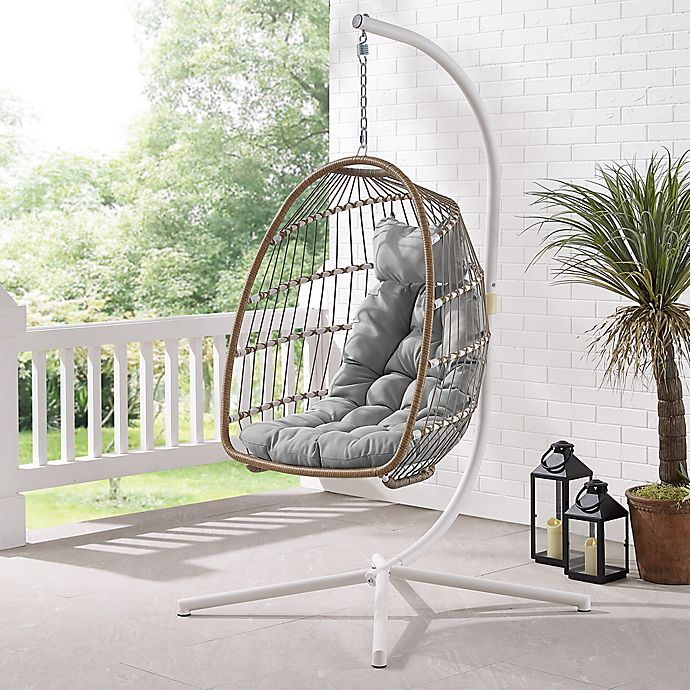 Mid Century Rattan Chair, Forest Gate Metal Swing Egg Chair With Stand Bed Bath Beyond