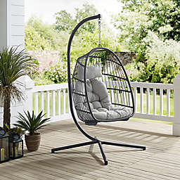 Forest Gate Metal Swing Egg Chair with Stand in Grey