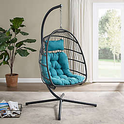 Forest Gate Metal Swing Egg Chair with Stand in Teal
