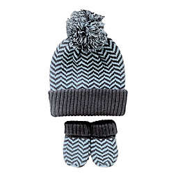 NYGB Infant 2-Piece Jacquard Turn Cuff Hat and Mitten Set in BLue