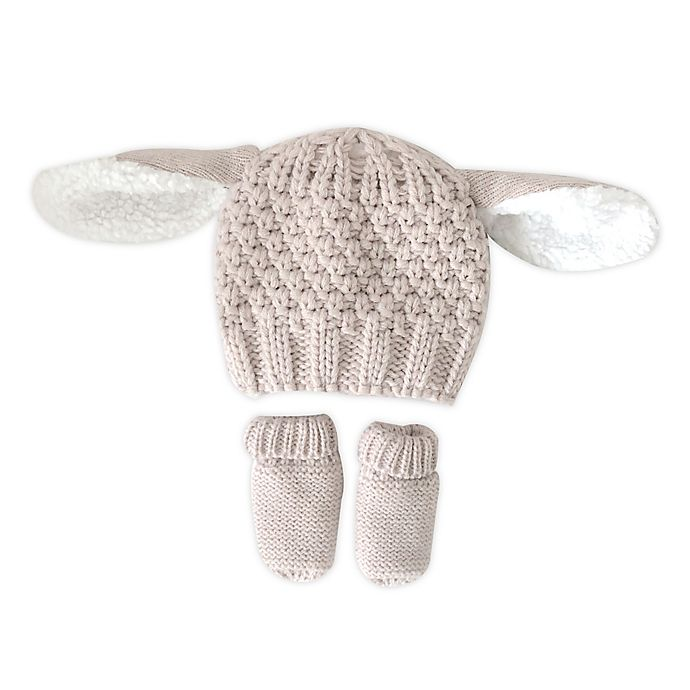 Alternate image 1 for Toby Fairy™ Newborn 2-Piece Bunny Critter Hat and Mitten Set in Beige