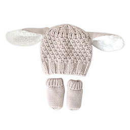 Toby Fairy™ Newborn 2-Piece Bunny Critter Hat and Mitten Set in Beige
