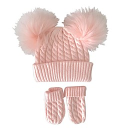NYGB® 2-Piece Double Pom Hat and Mitten Set in Pink