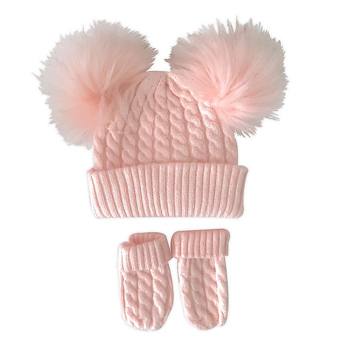 Alternate image 1 for NYGB® 2-Piece Double Pom Hat and Mitten Set in Pink
