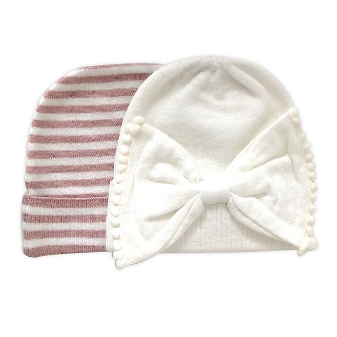 Alternate image 1 for NYGB™ 2-Pack Trimmed Bow and Solid Knit Hats in Ivory/Pink