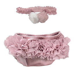 Toby Fairy™ 2-Piece Velvet Headband and Diaper Cover Set in Rose Quartz