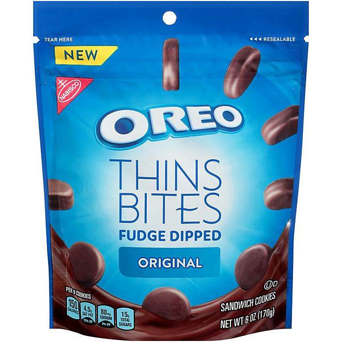 Alternate image 1 for OREO Thins Bites 3.1 oz. Fudge Dipped Chocolate Sandwich Cookies