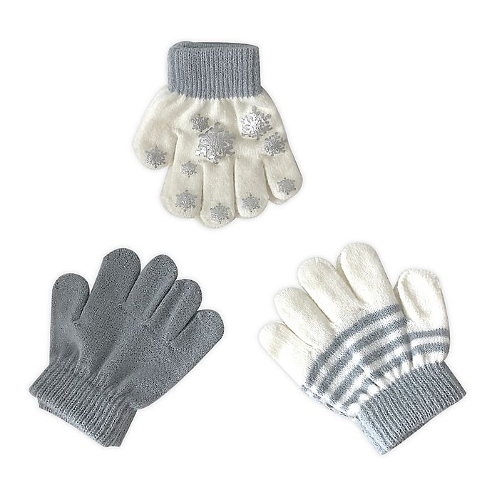 Alternate image 1 for Toby Fairy™ 3-Pack Snow Flake Gripper Gloves in Silver/Ivory