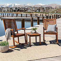 Forest Gate 3-Piece Acacia Wood Rocking Chair Chat Set in Brown