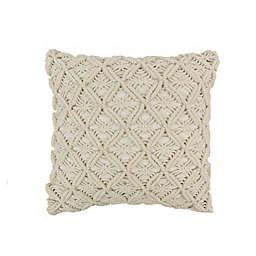 Donna Sharp Texas Brown Bandana Crochet Square Throw Pillow in Beige