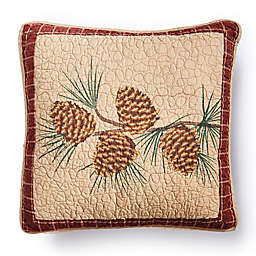 """Donna Sharp® Pine Lodge """"Pine Branch"""" Square Throw Pillow in Beige"""