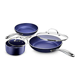 Granitestone Diamond Nonstick Aluminum 5-Piece Cookware Set in Blue