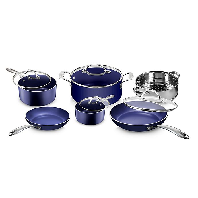 Alternate image 1 for Granitestone Diamond Nonstick Aluminum 10-Piece Cookware Set in Blue