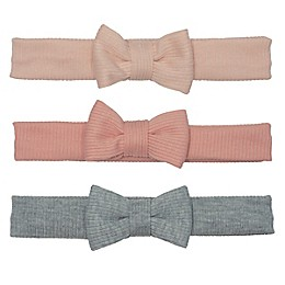 So 'dorable 3-Pack Textured Bow Headbands in Peach/Grey