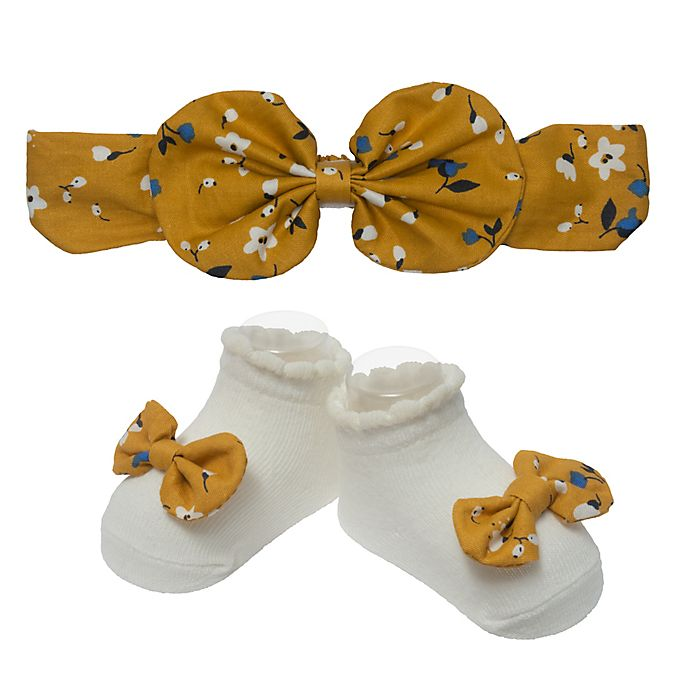 Alternate image 1 for So' Dorable Yellow Bow Floral Headband and Bootie Set