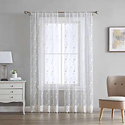 Laura Ashley Melody 2-Pack 84-Inch Rod Pocket Light Filtering Window Curtain Panels in Ivory