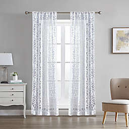 Laura Ashley Clover 2-Pack 84-Inch Rod Pocket Light Filtering Window Curtain Panels in White