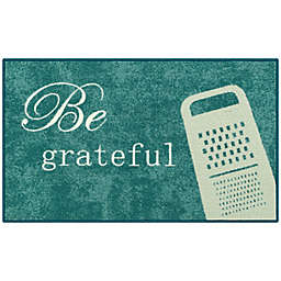 """Be Grateful"" 20"" x 34"" Accent Rug in Blue"