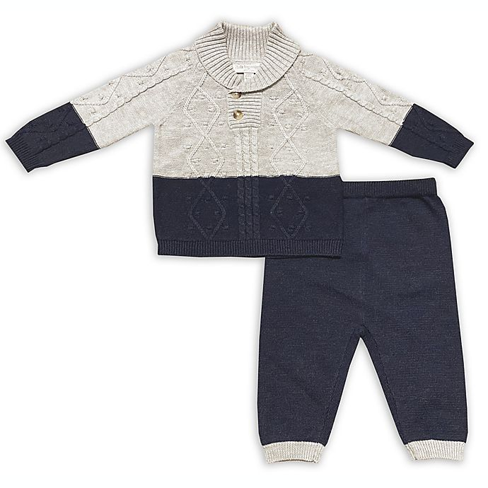 Alternate image 1 for Clasix Beginnings™ by Miniclasix® 2-Piece Knit Top and Pant Set in Grey/Navy