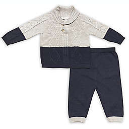 Clasix Beginnings™ by Miniclasix® Size 3M 2-Piece Knit Top and Pant Set in Grey/Navy